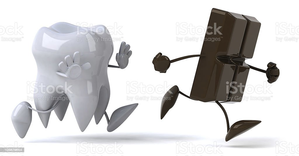 Tooth and chocolate stock photo