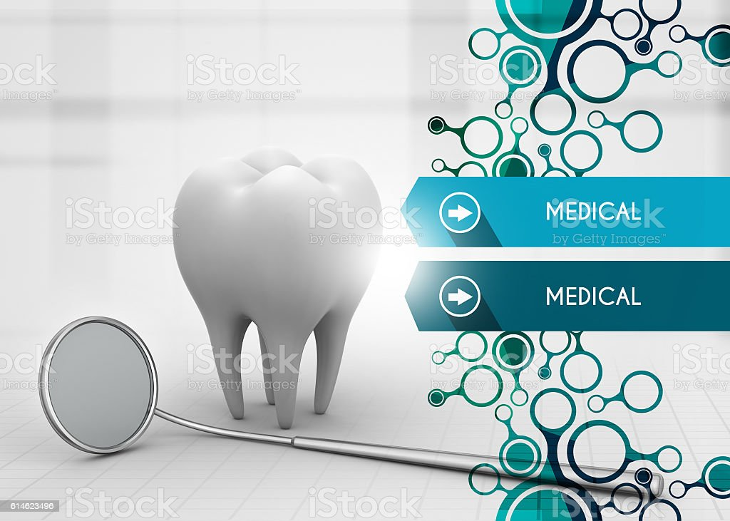 Tooth and dental mirror stock photo
