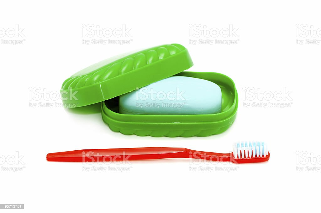 tooth brush and  soap royalty-free stock photo