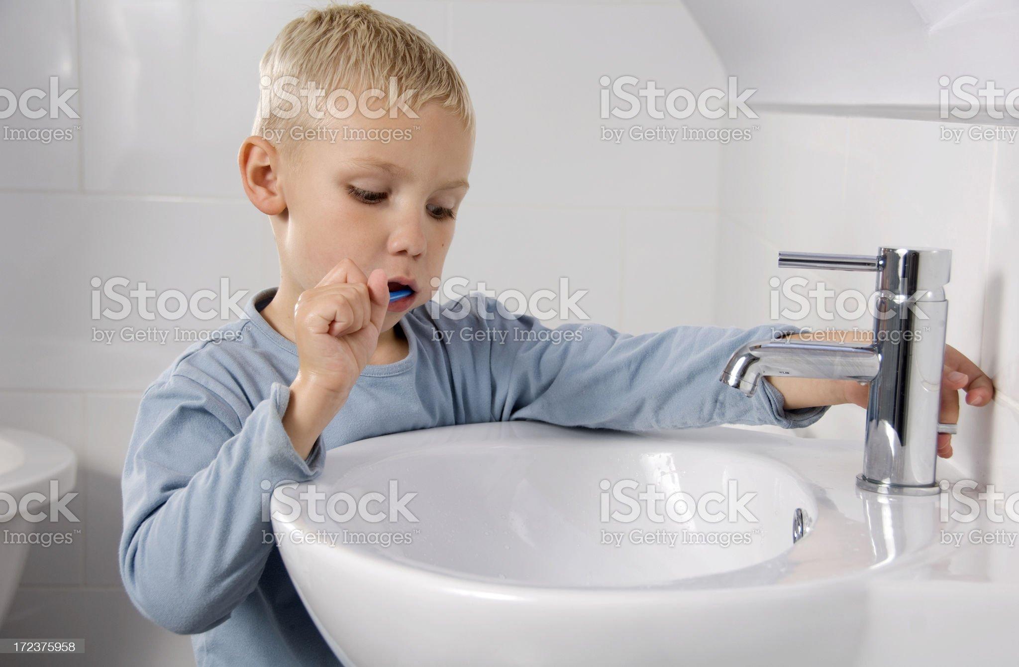 tooth brushing boy royalty-free stock photo