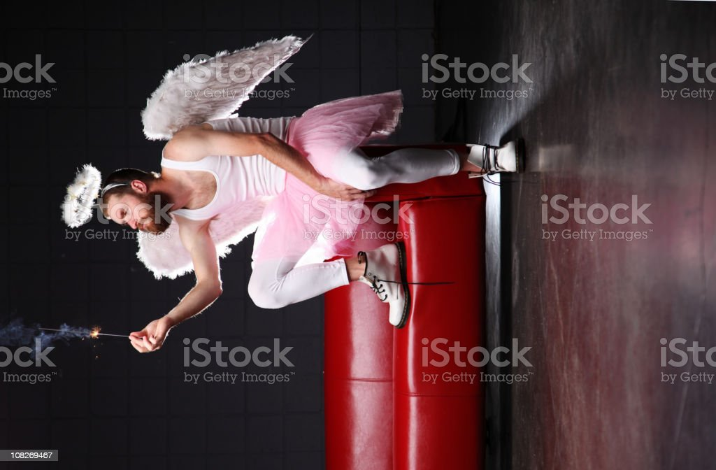 Tooth Fairy: contemplating a sparkler stock photo