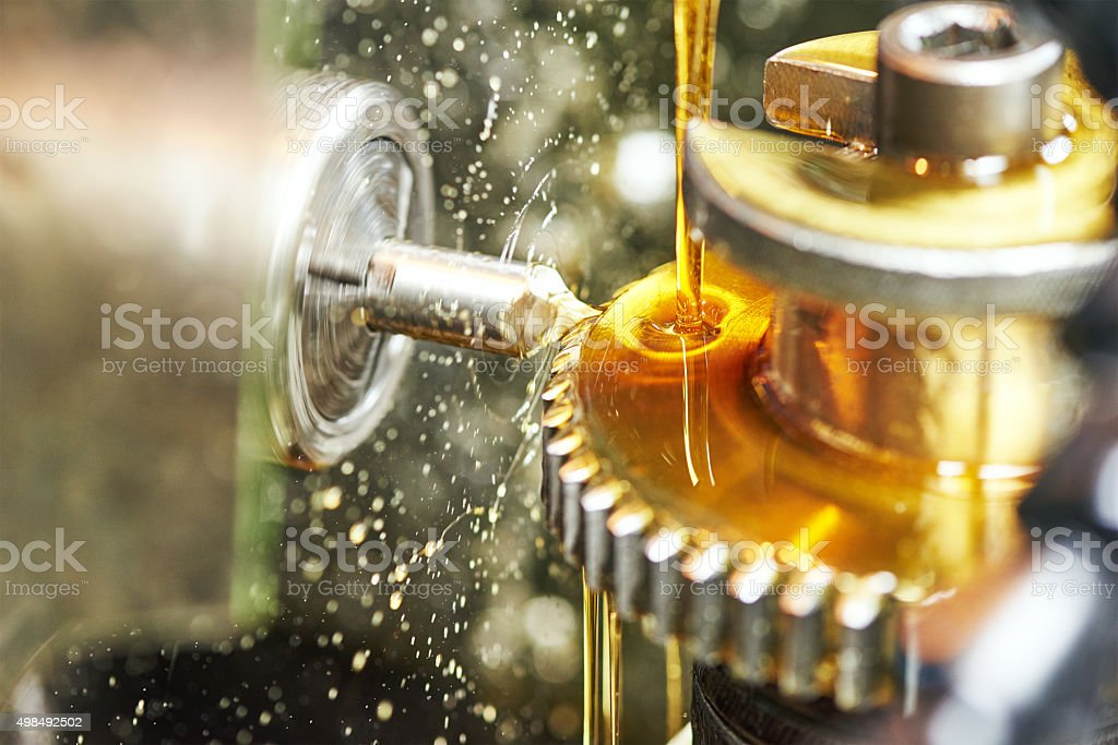 tooth gear wheel machining stock photo
