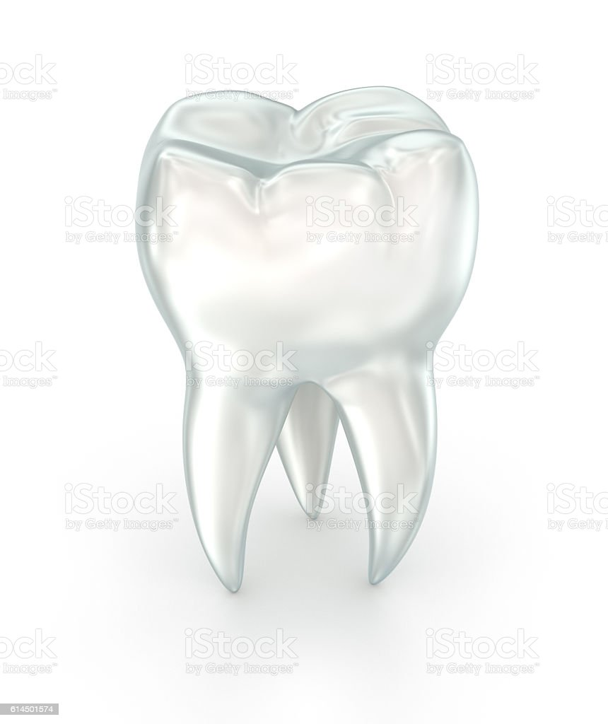 Tooth over white surface. 3d illustration. stock photo
