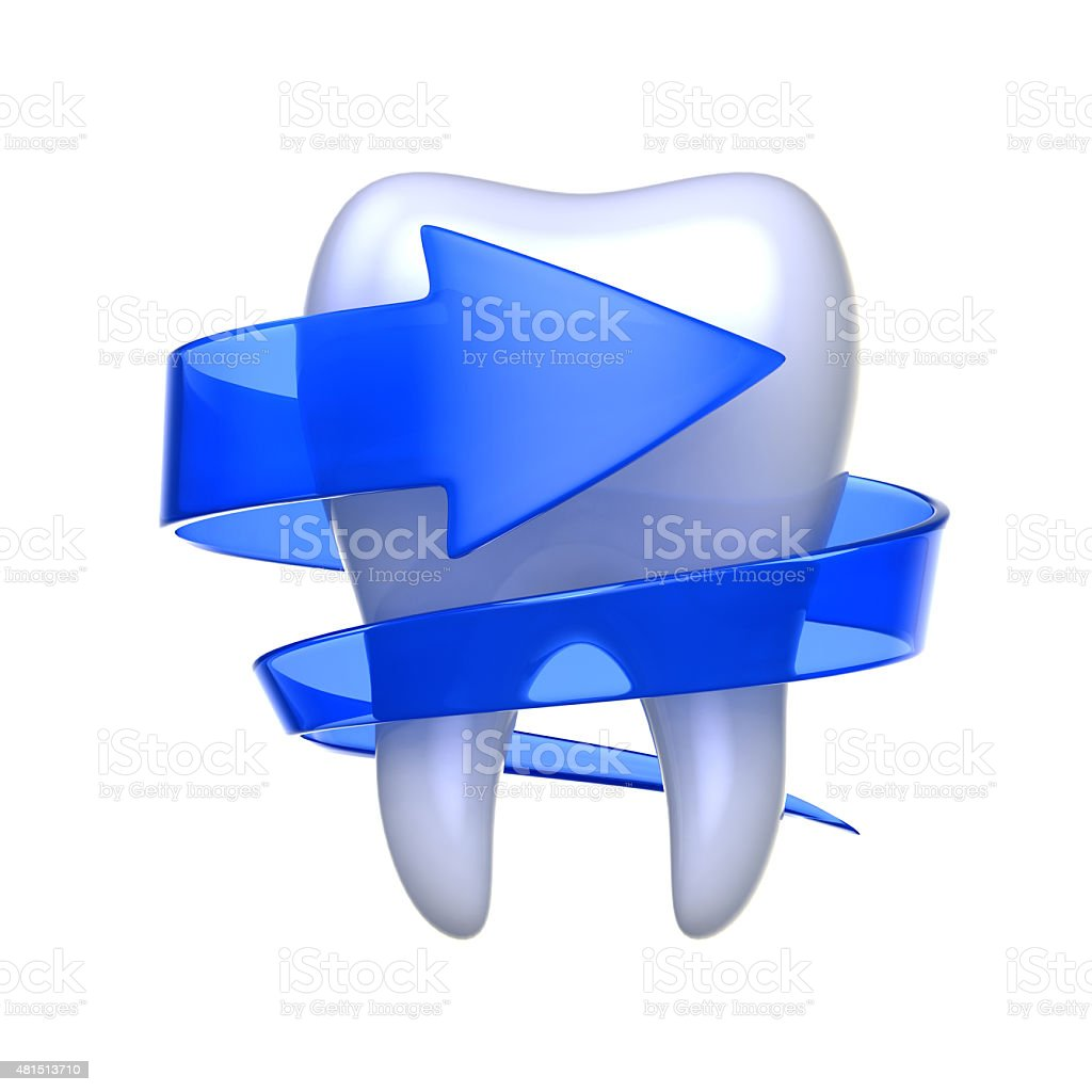 Tooth with arrow isolated on white background. royalty-free stock vector art