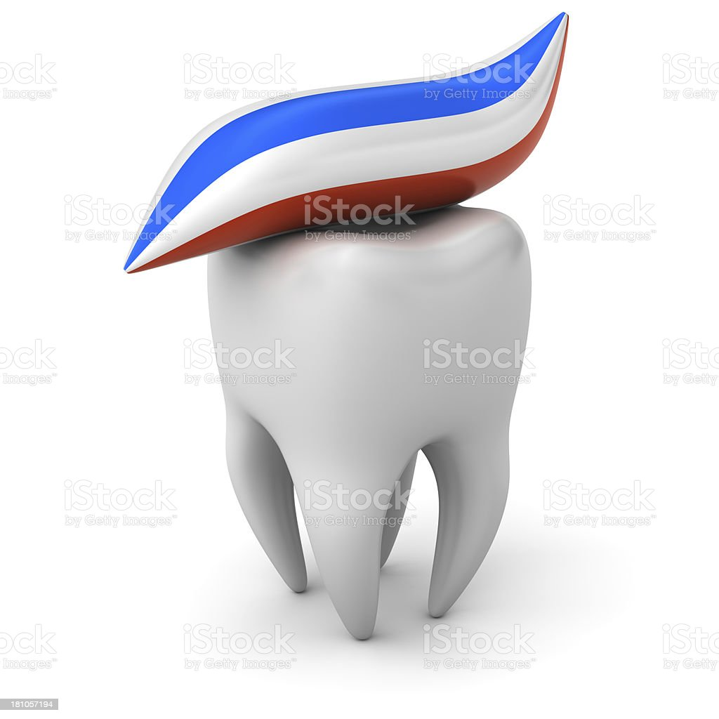Tooth with paste. stock photo