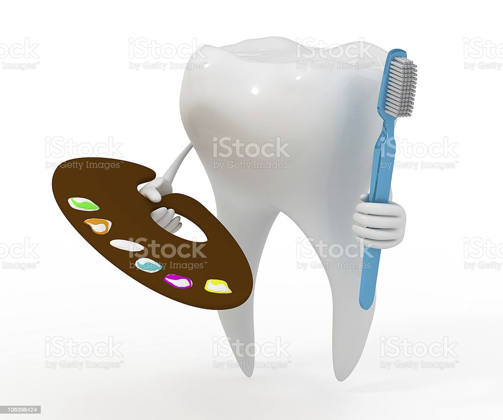 tooth with the palette of artist royalty-free stock photo