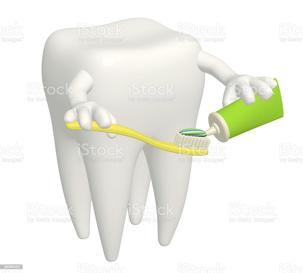 Tooth with toothbrush royalty-free stock photo