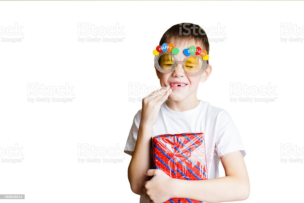 toothache because of the sweets at birthday party stock photo