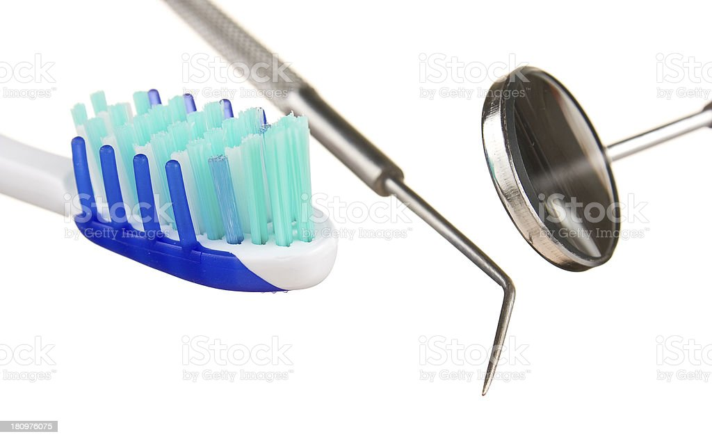 toothbrush and dental tools royalty-free stock photo