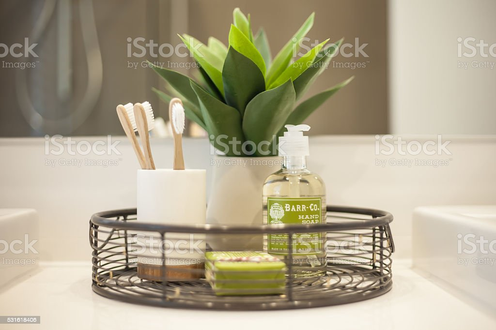 Toothbrush And Soap Arrangement stock photo
