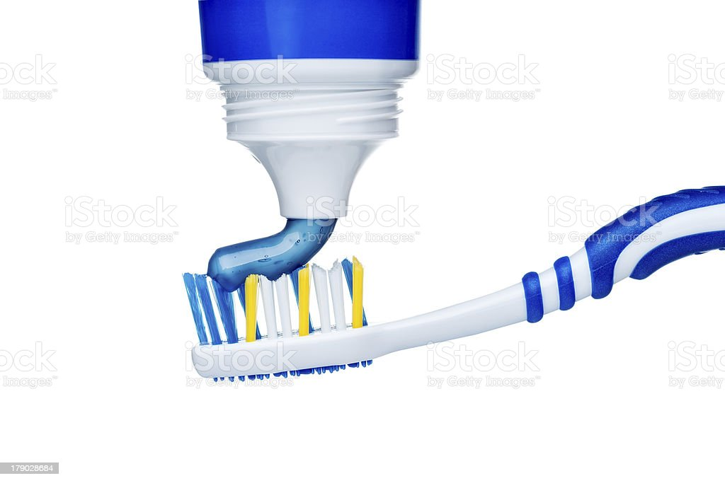 Toothbrush and toothpaste royalty-free stock photo