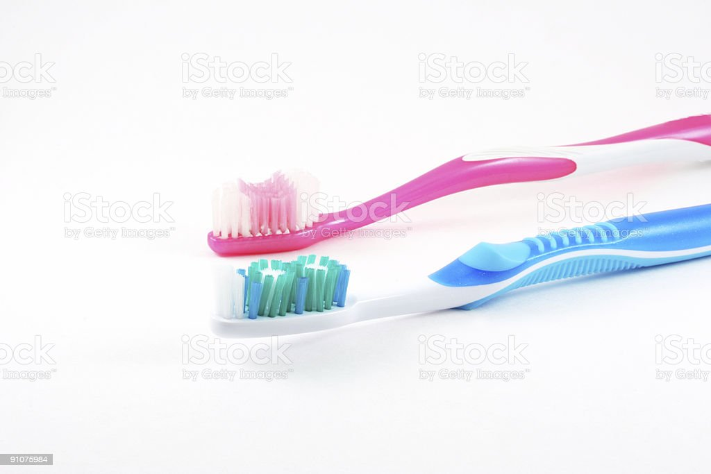 Toothbrush, his and hers stock photo