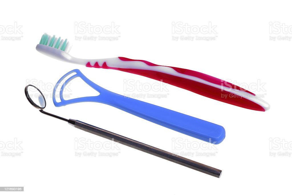 toothbrush Medical Mirror with Reflection stock photo
