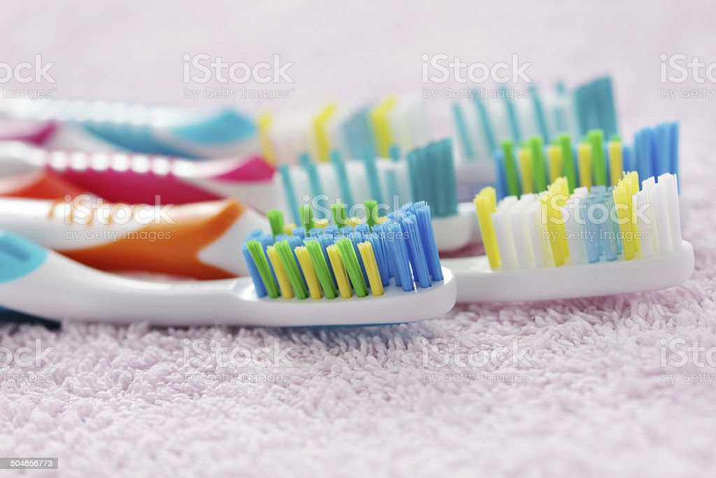 toothbrushes stock photo