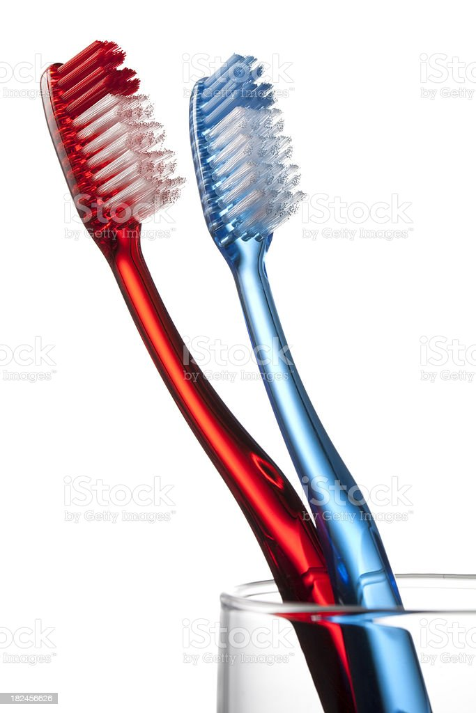 Toothbrushs in a glass royalty-free stock photo