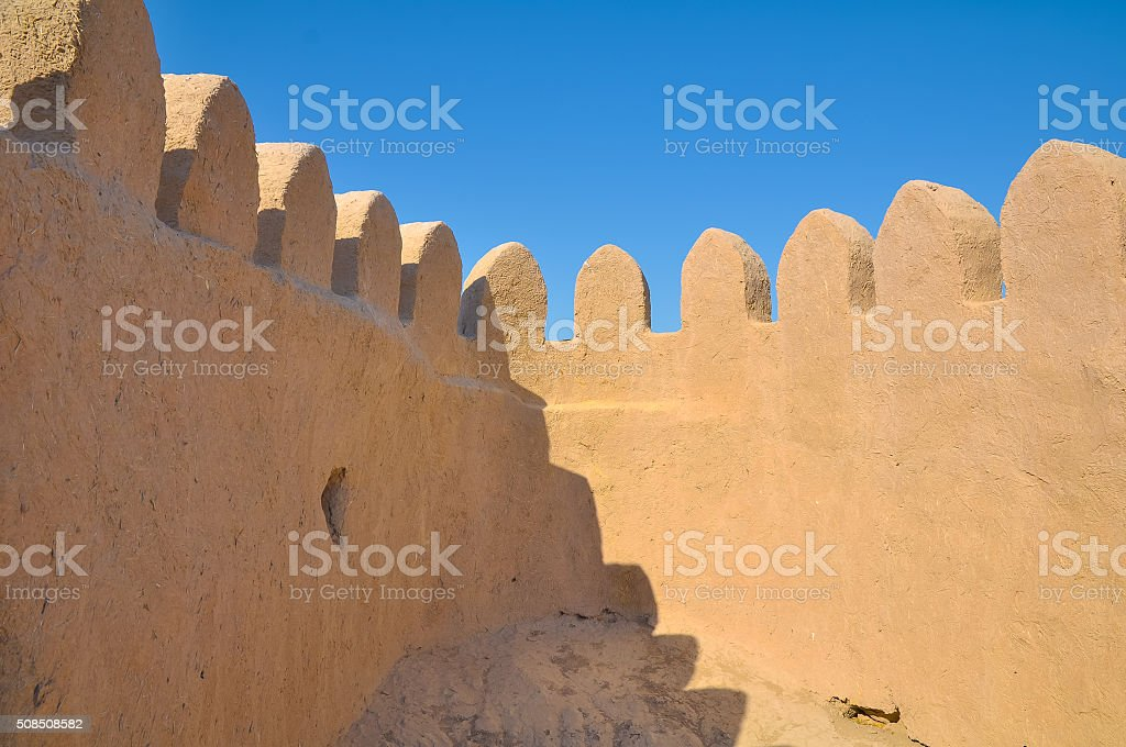 Toothed fortified medieval town, for a background stock photo