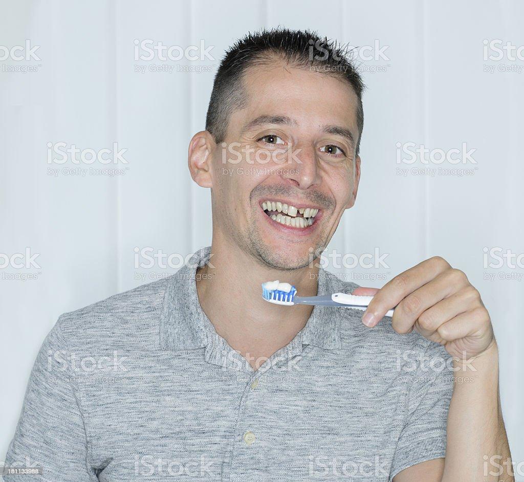 toothless toothbrushing royalty-free stock photo