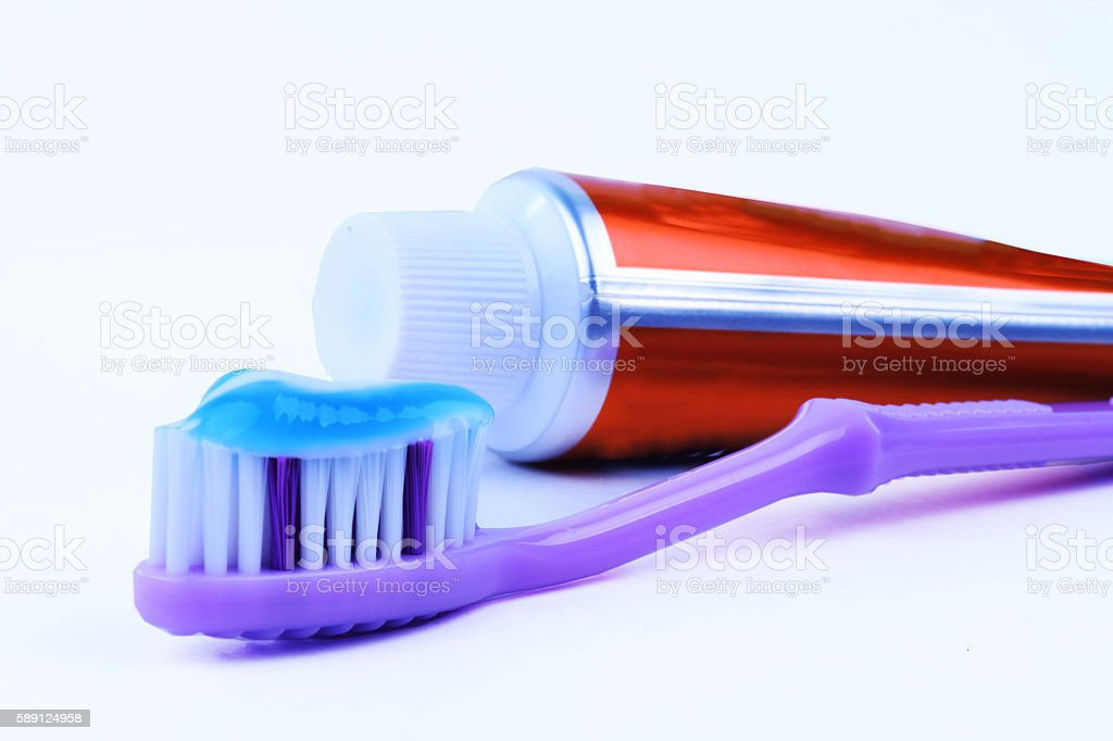 Toothpaste and Toothbrush stock photo