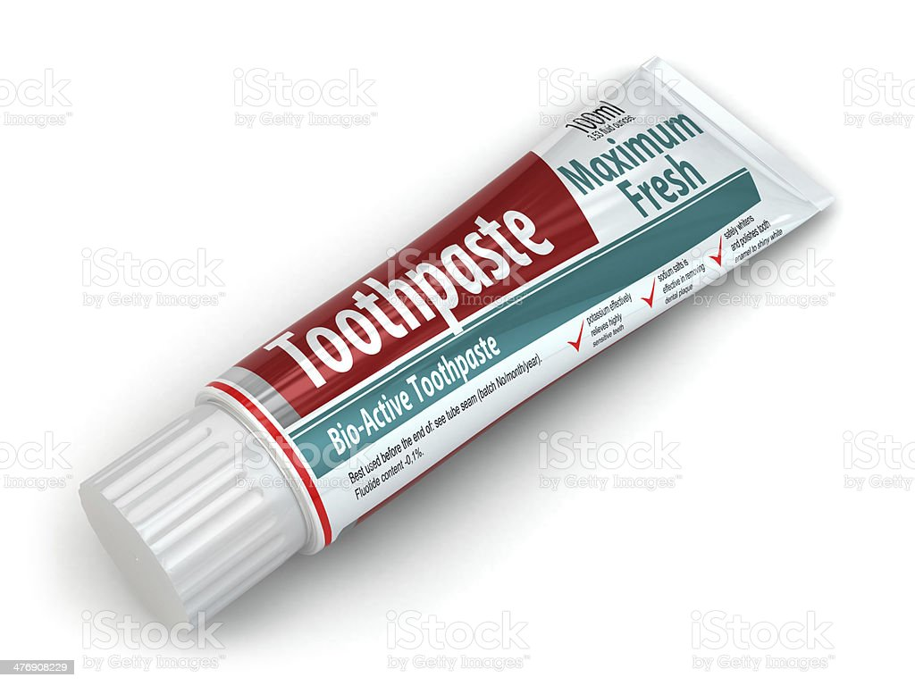 Toothpaste container stock photo