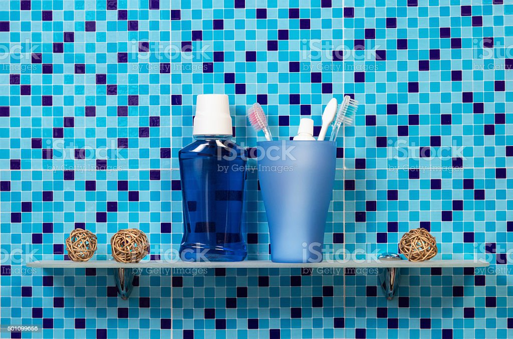 Toothpaste, toothbrushes and lotion stock photo