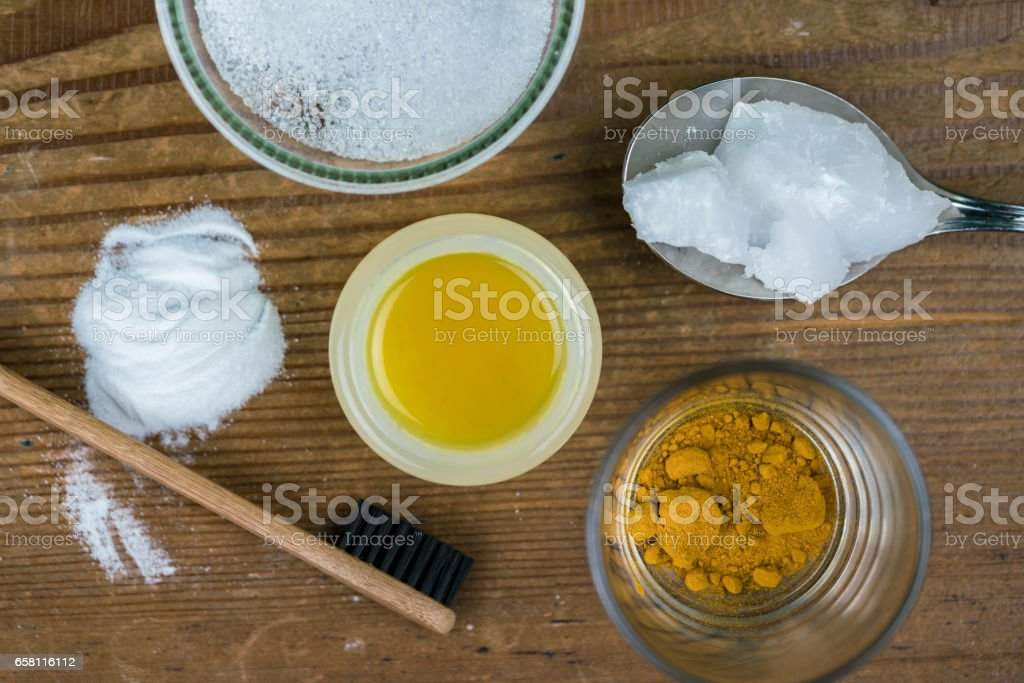 DIY toothpaste with ingredients stock photo