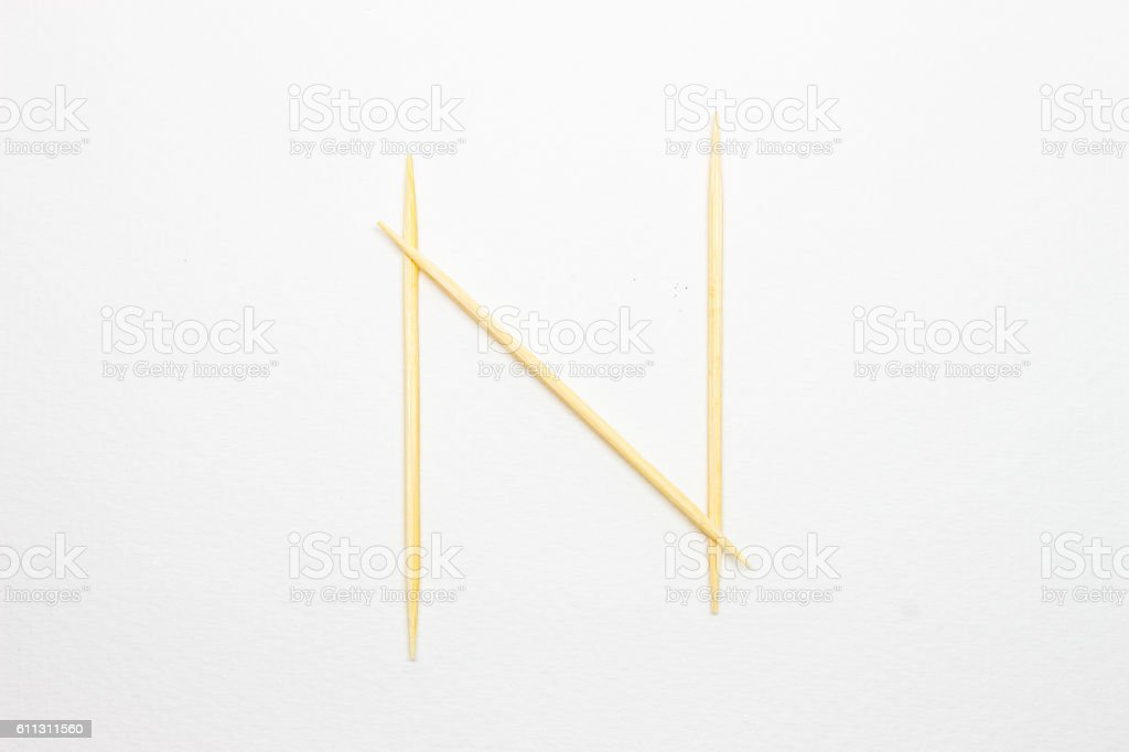 Toothpick alphabet 'N' stock photo