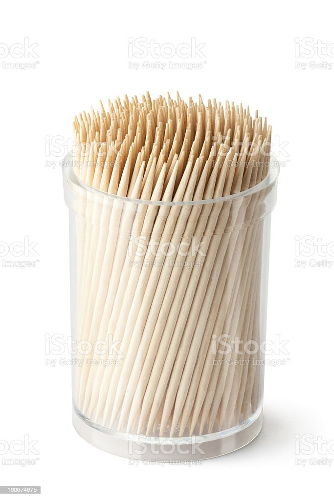 Toothpicks in transparent plastic box royalty-free stock photo