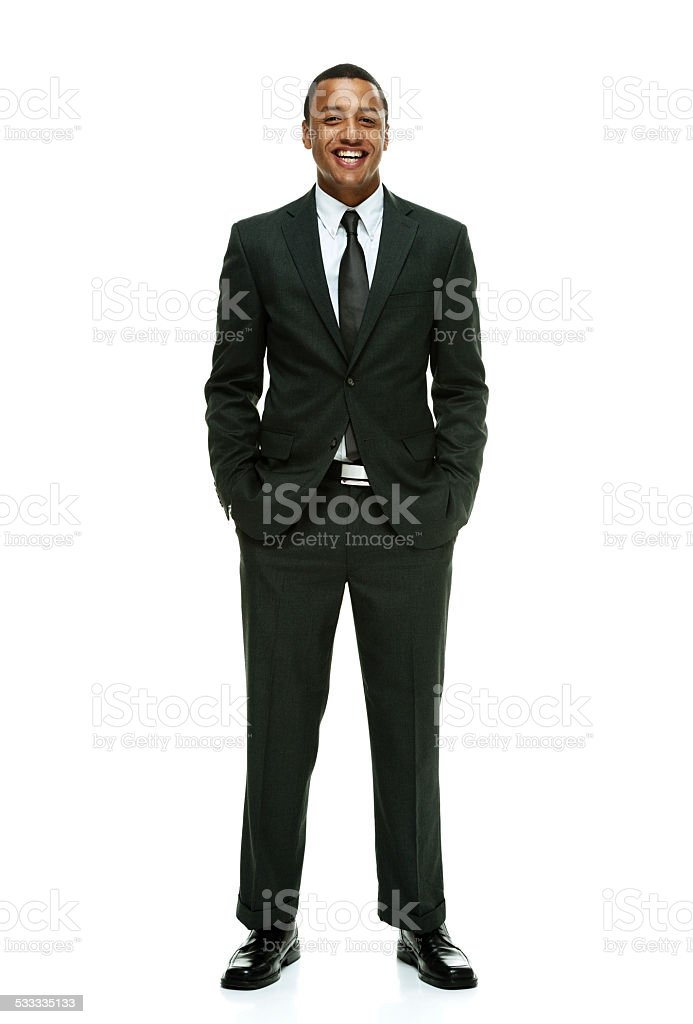 Toothy smile businessman looking at camera stock photo