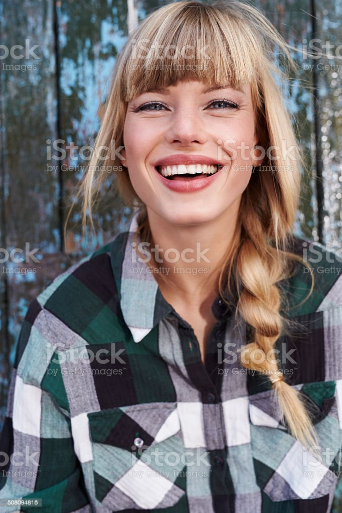 Toothy smile on perfect woman stock photo