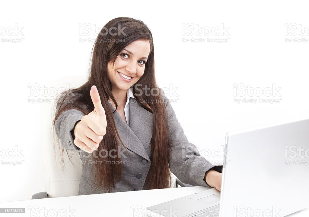 Toothy Smile Woman giving thumbs up royalty-free stock photo
