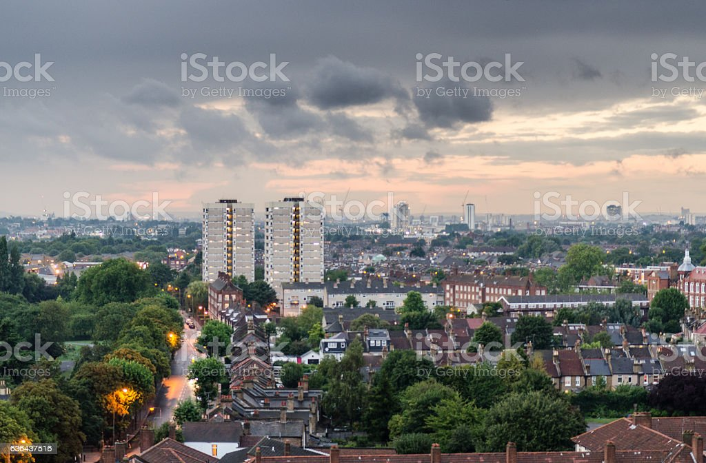 Tooting cityscape stock photo