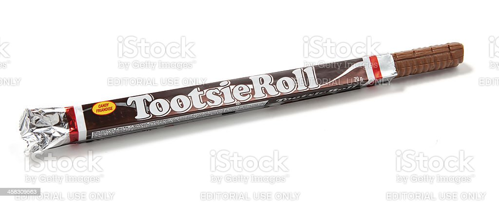 Tootsie Roll Candy Unwrapped stock photo