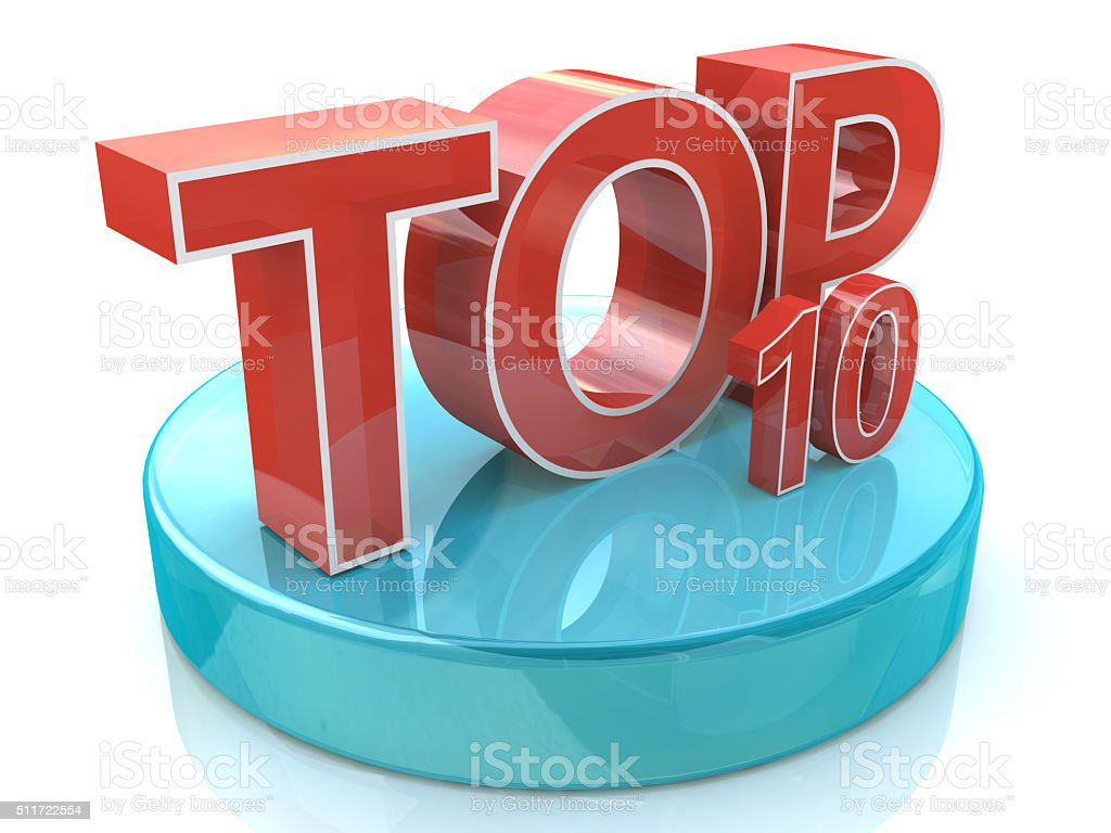 Top 10 words over white background stock photo