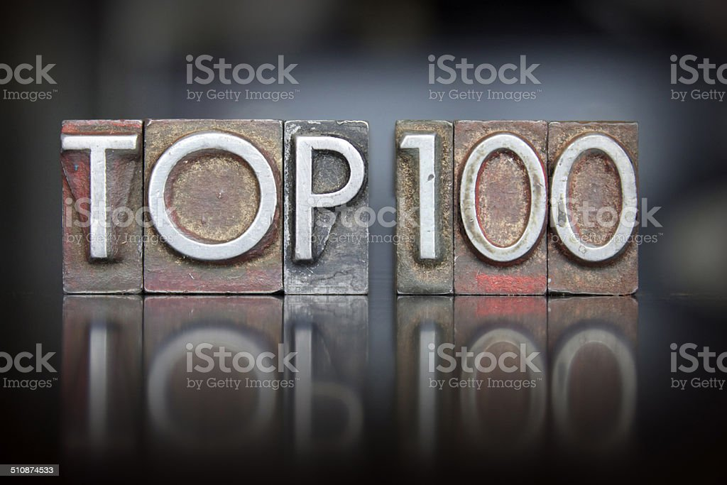 Top 100 Letterpress stock photo