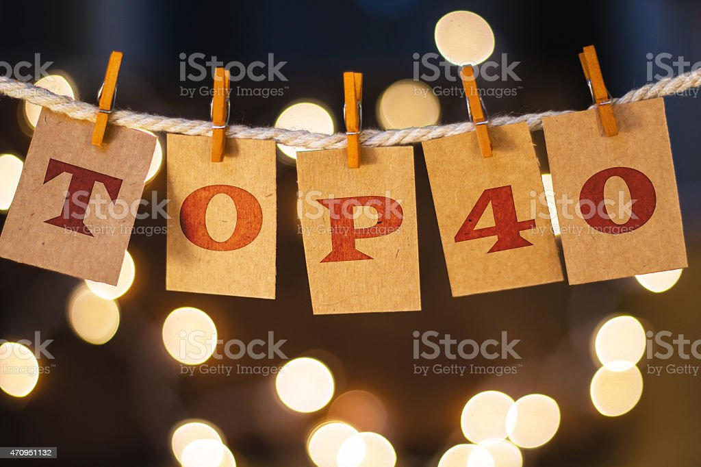Top 40 Concept Clipped Cards and Lights stock photo