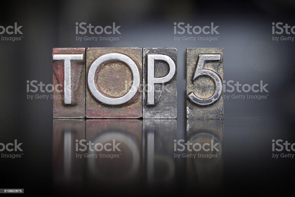 Top 5 Letterpress stock photo