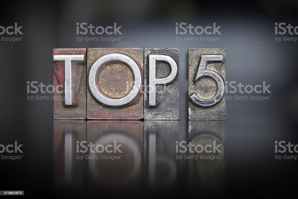 Top 5 Letterpress stock photo