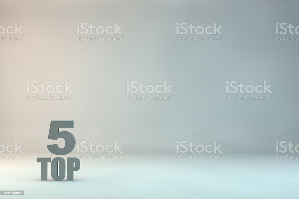 top 5 on background stock photo