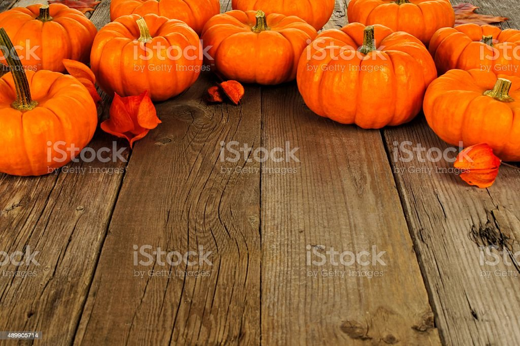 Top border of autumn pumpkins on old wood background stock photo