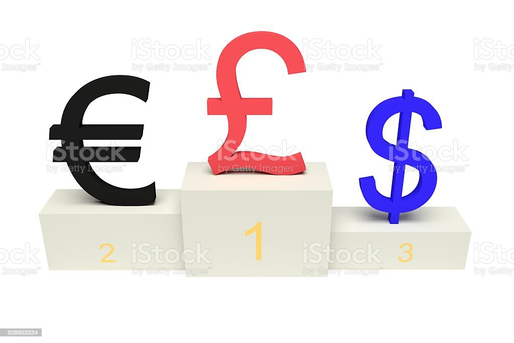 top currencies, strong Pound sterling, with numbers, isolated stock photo