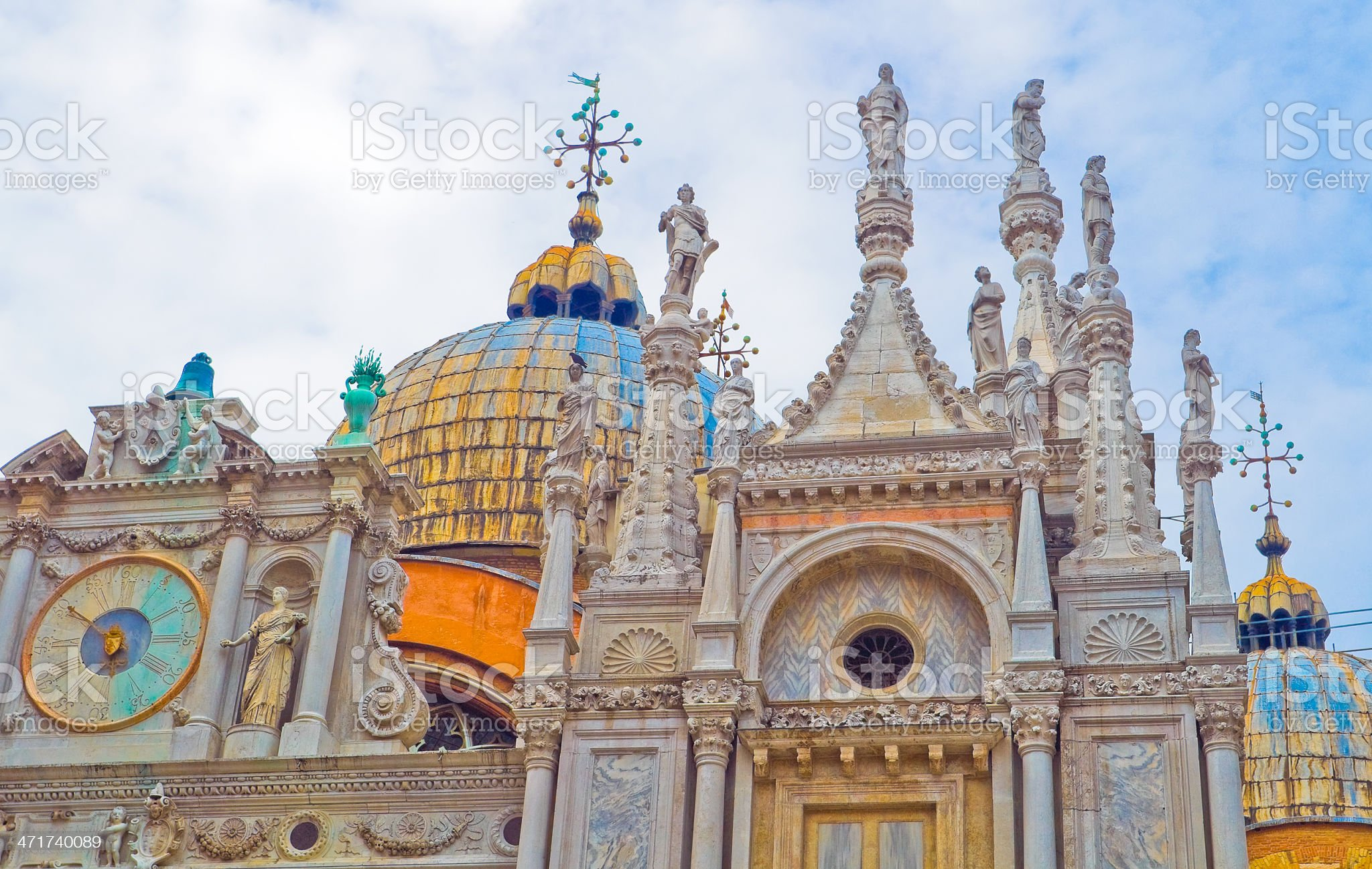 Top decoration details of St. Mark church in Venice royalty-free stock photo