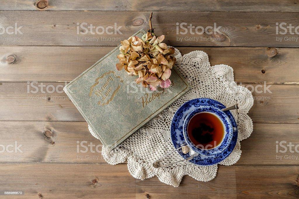 Top down lay flat tea cup and saucer stock photo