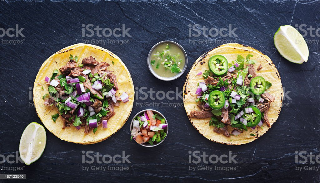 top down photo of two authentic mexican tacos stock photo