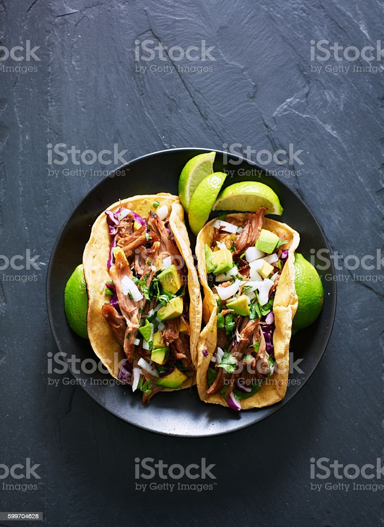 top down photo of two mexican carnitas tacos stock photo