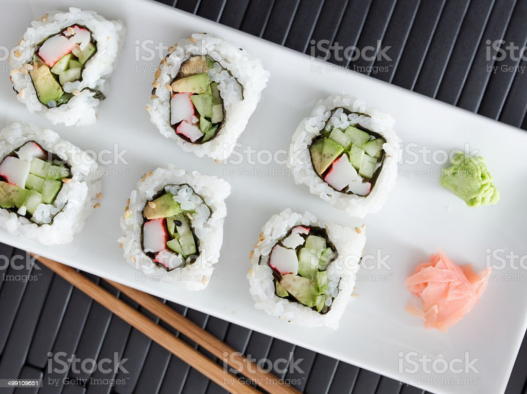 top down view a california sushi roll stock photo