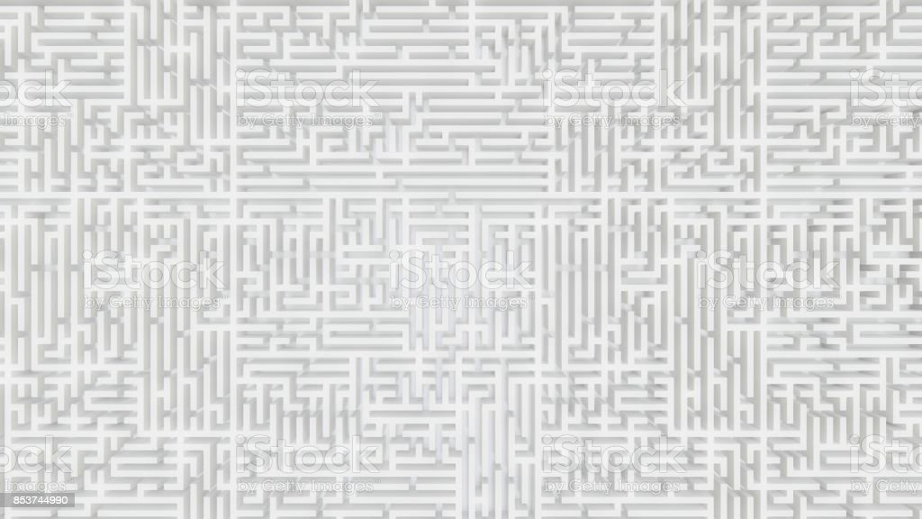 Top Down View of a Borderless White Maze stock photo