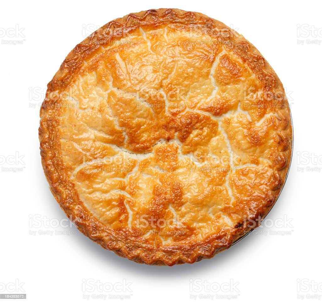 Top down view of apple pie isolated on white background stock photo