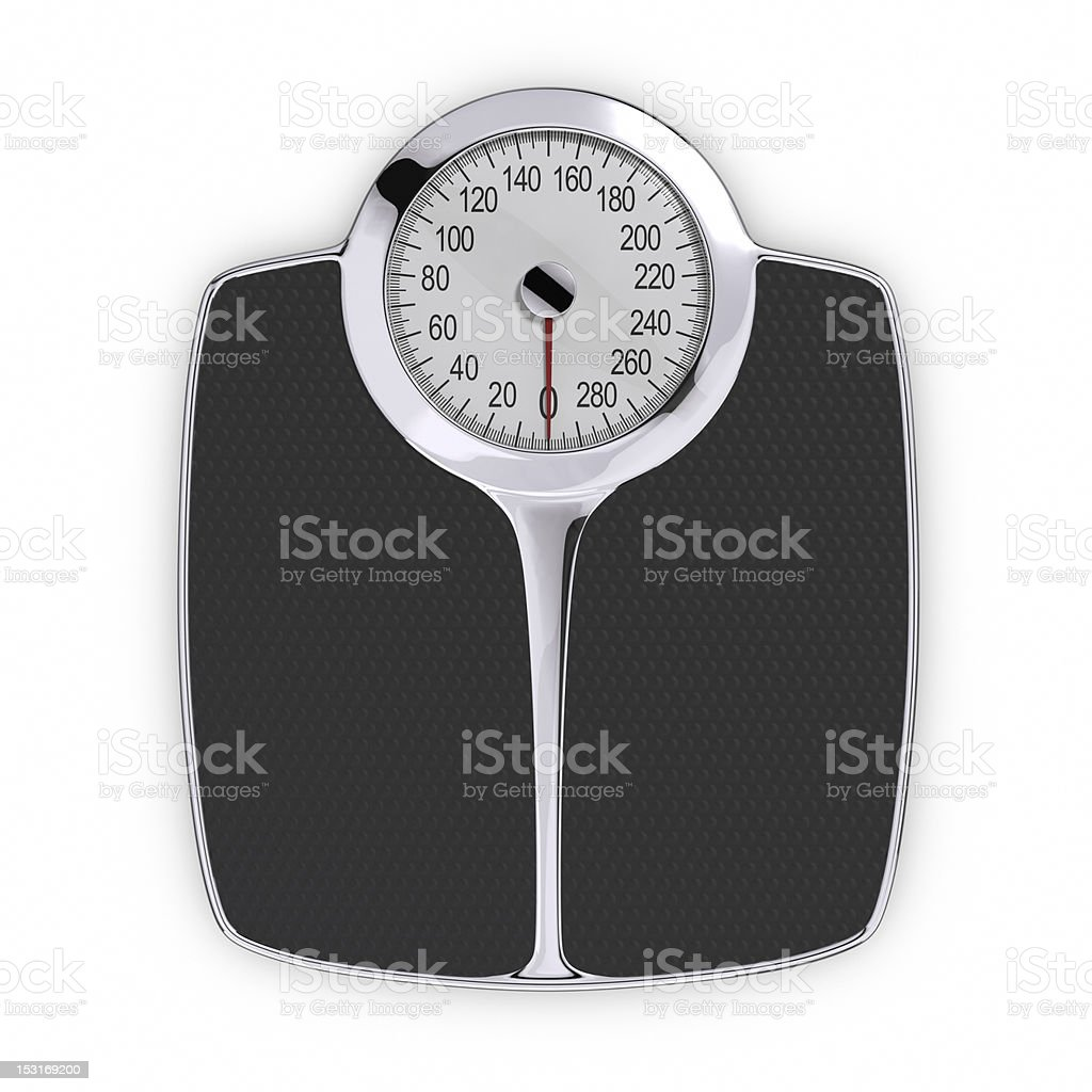 Top down view of body weight scale stock photo