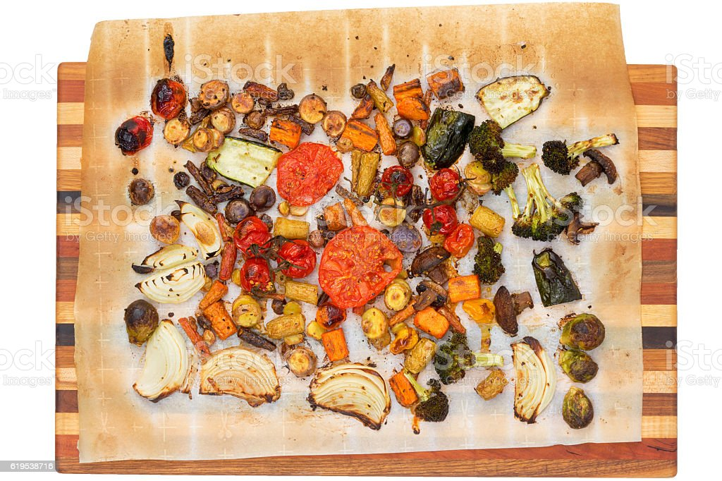 Top down view of grilled veggies on cutting board stock photo