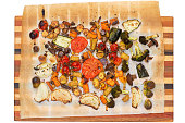Top down view of grilled veggies on cutting board